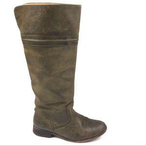 FRYE Melissa Trapunto boots 6.5 green knee high